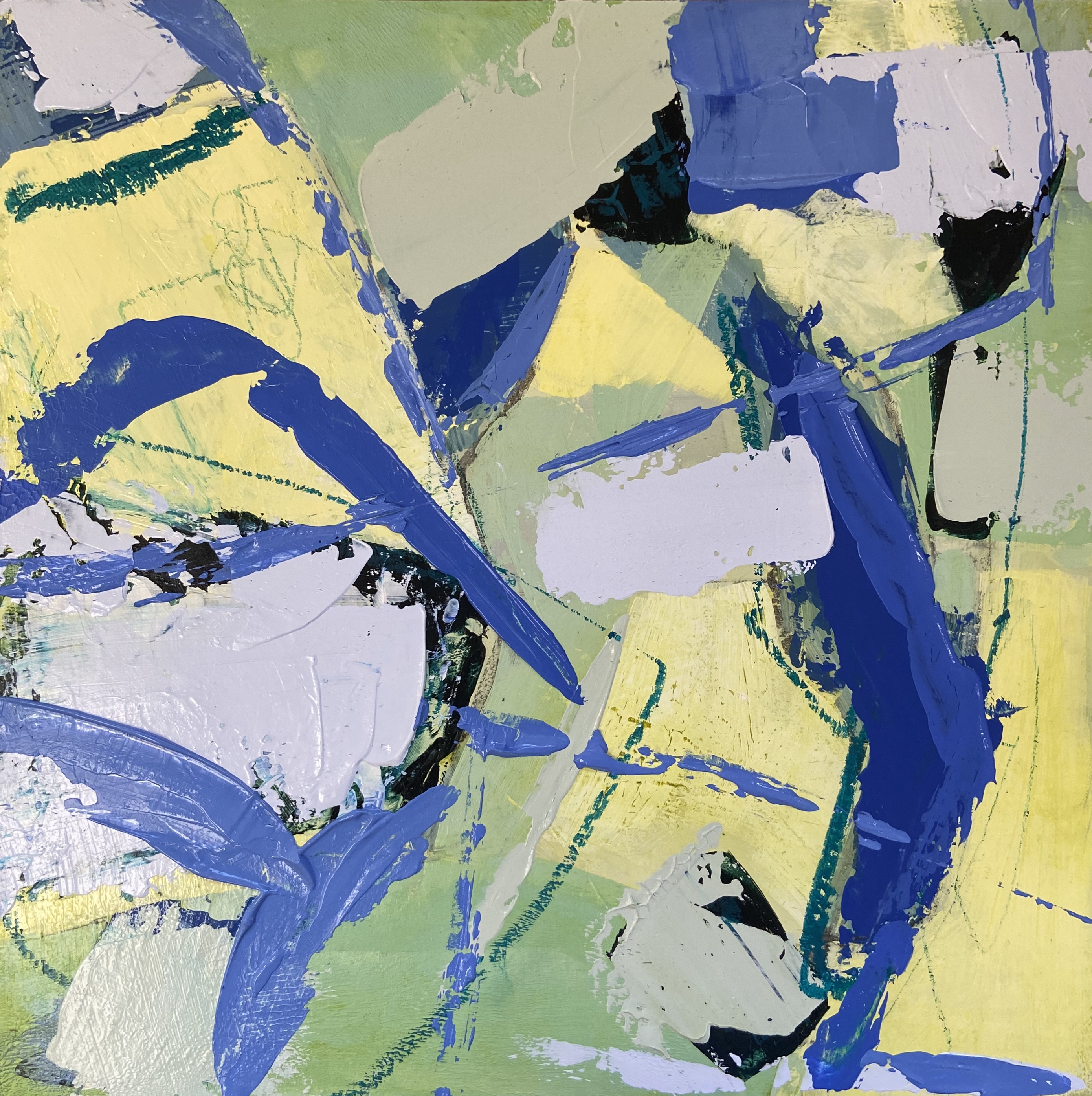 Lake in summer abstract painting.