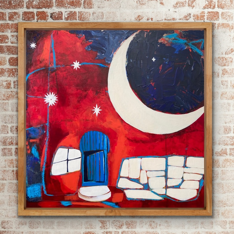 Abstract Painting Moon Door Blue Red