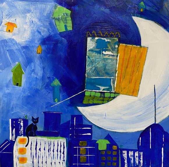 Crescent moon painting with door and cat in blue, yellow, and green with city skyline